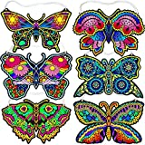 Fuzzy Velvet Hanging Butterflies 6-Pack (Beautiful Coloring Designs)