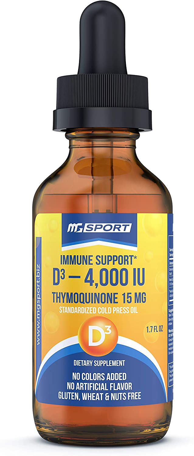 Immune Support Vitamin D3 Black Seed Oil with Potent Thymoquinone Taste - Strong Flavor Cold Pressed Liquid Drops 4,000 IU Vitamin D3, 1.5% Standardized Thymoquinone – 120 Servings Per Bottle