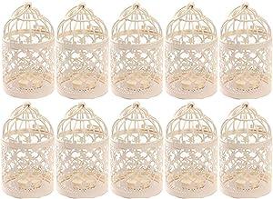 Qingsun 10Pack Metal Tealight Candle Holder Lanterns Creative Wedding Home Table Decoration Birdcage White 8x14cm