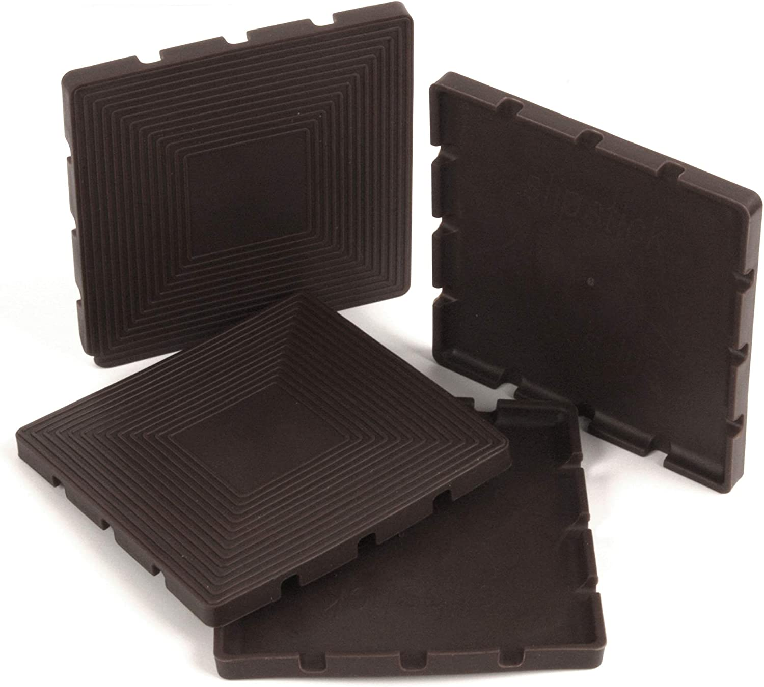 Set of 4 Grippers Slipstick CB885 3-1//2 Inch Large Non Slip Rubber Floor Surface Protector Pads Round Chocolate Brown