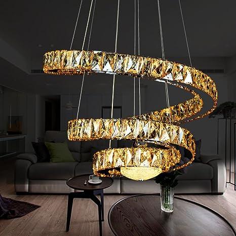Moderna Simple cristales Metal colgante luces araña alta ...