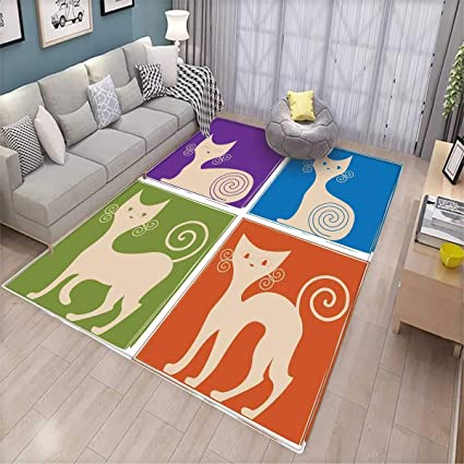 Funny Girls Rooms Kids Rooms Nursery Decor Mats Cartoon Cats Whiskers  Emotion Happy Confused Curious Goofy