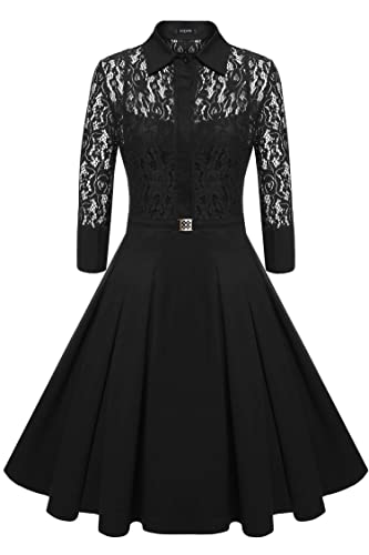 ACEVOG Women's Vintage 1950s Style 3/4 Sleeve Lace Flare A-line Dress With Lining