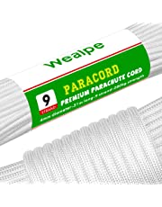 Wealpe Paracord 550 Nylon Parachute Cord 4mm 9 Strand Tent Rope Type III Mil Spec Survival Cord for Outdoors, Camping, Lanyard and Bracelets