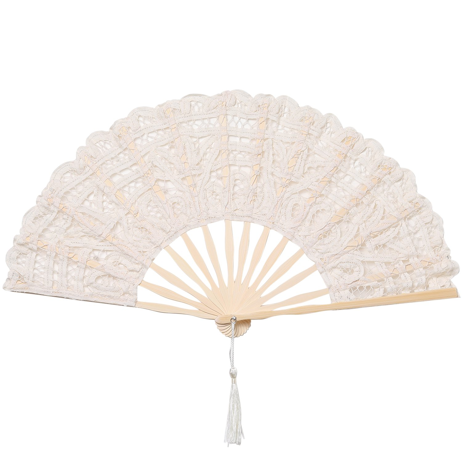 BABEYOND Cotton Lace Folding Handheld Fan Embroidered Bridal Hand Fan with Bamboo Staves for Wedding Decoration Dancing Party (Beige)