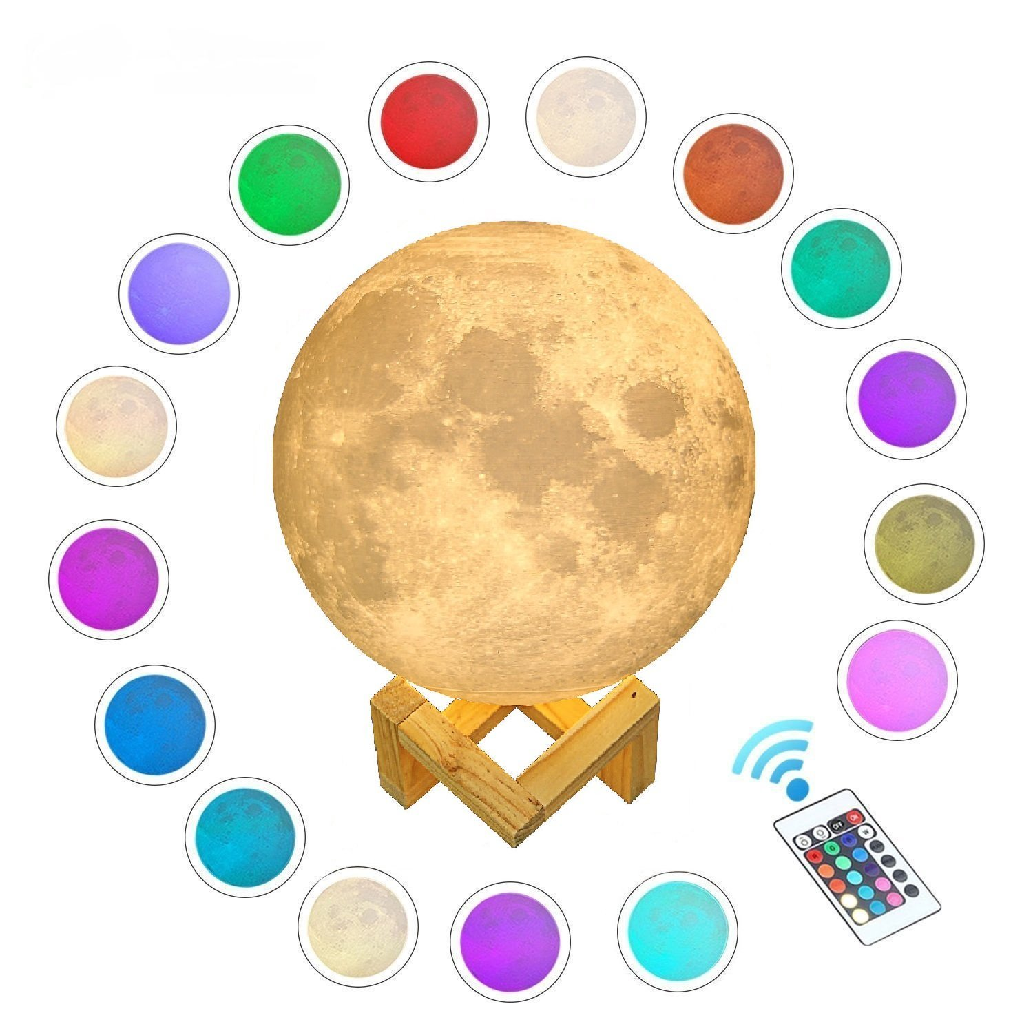 Gahaya 16 Colors 【Seamless】 Moon Lamp, 【Remote】 & Touch Control, Unibody Forming 3D Printed, PLA material, USB Recharge, Diameter 7.1''/18cm