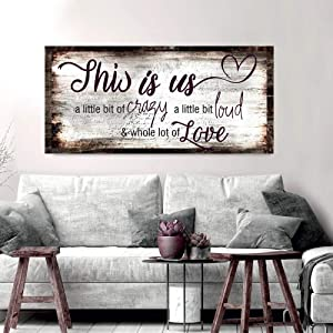 Sense of Art | Family a Little Bit of Crazy Whole Lot of Love Quote V2 | Wood Framed Canvas | Ready to Hang Wall Art for Home and Bedroom Decoration