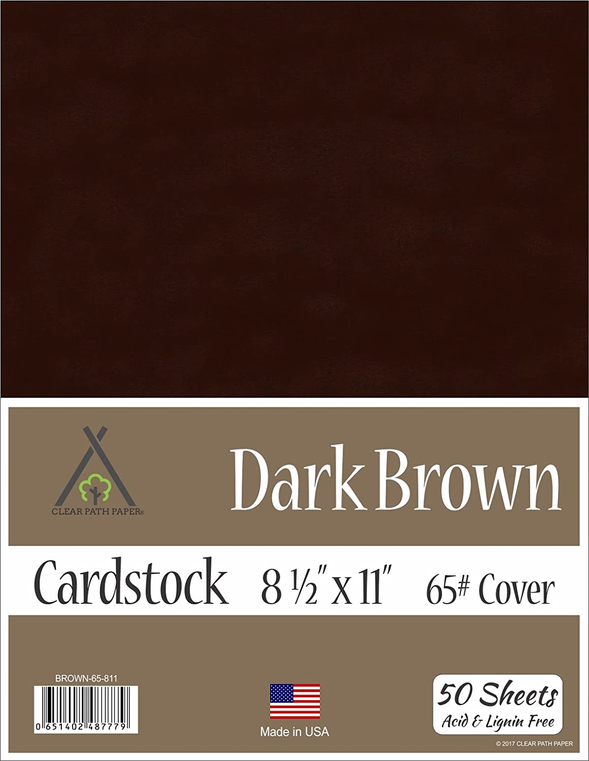 Dark Brown Cardstock - 8.5 x 11 inch - 65Lb Cover - 50 Sheets Clear Path Paper 4336868143