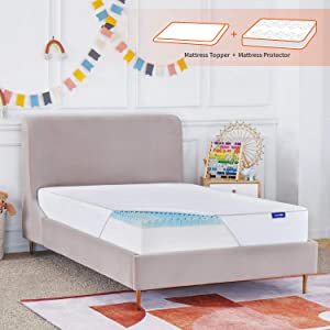 Sweetnight Twin Mattress Topper with Waterproof Mattress Protector, 2 Inch Cooling Egg Crate Gel Memory Foam Topper Ultra Plush, Plus 4 Bed Sheet Holder Straps, Twin Size