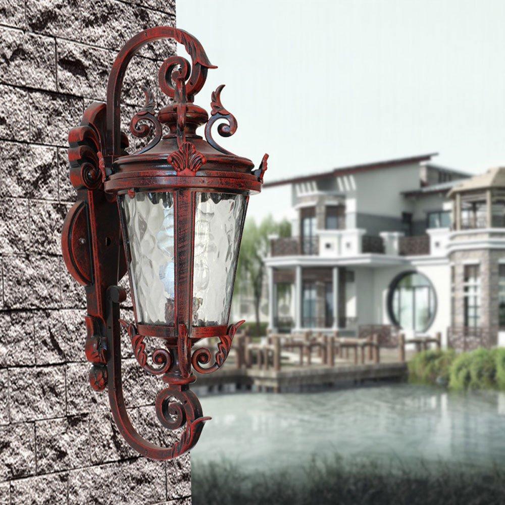 miglior prezzo Hdmy Applique da parete parete parete tradizionale di sicurezza della lanterna della parete esterna 1 × E27 Applique della parete del portico di balcone del metallo dell'annata afflitto retrò retrò  in vendita online