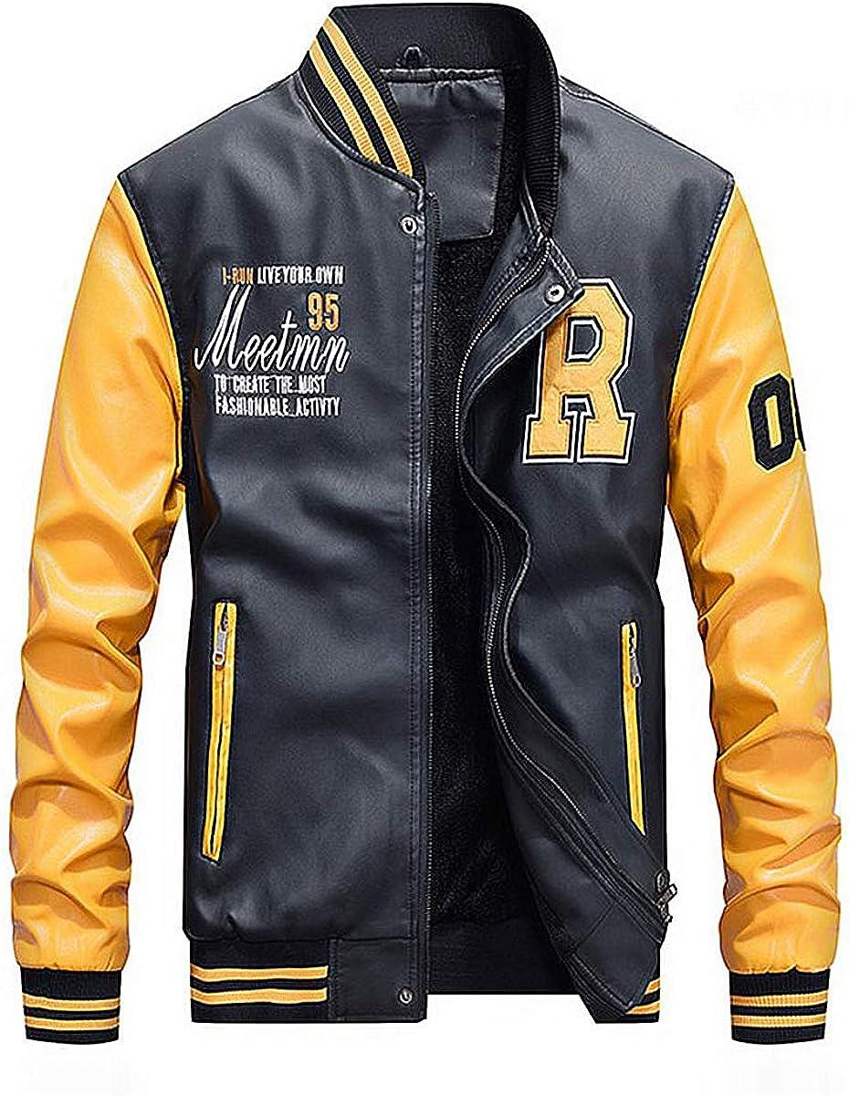 JUNMAONO Classics Chaqueta Bomber para Hombre Hombres Chaqueta de Cuero Otoño Y Invierno Cuero Jacket Chaqueta de béisbol con Parches Unisex Tops Abrigo Chaquetas Punto Cazadora Abrigo: Amazon.es: Ropa y accesorios