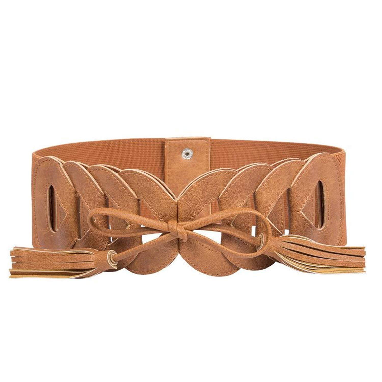 OnIn Women Elastic Band Waist Belt Stretchy Ladies Belts Tassel Waistband Woman dress,X-Large,BrownBelt2