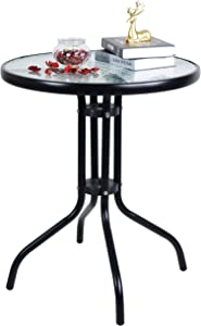 Patio Bistro Table with Metal Frame and Round Glass Dining Table Top for Outdoor,Garden Courtyard,Living Room - Black
