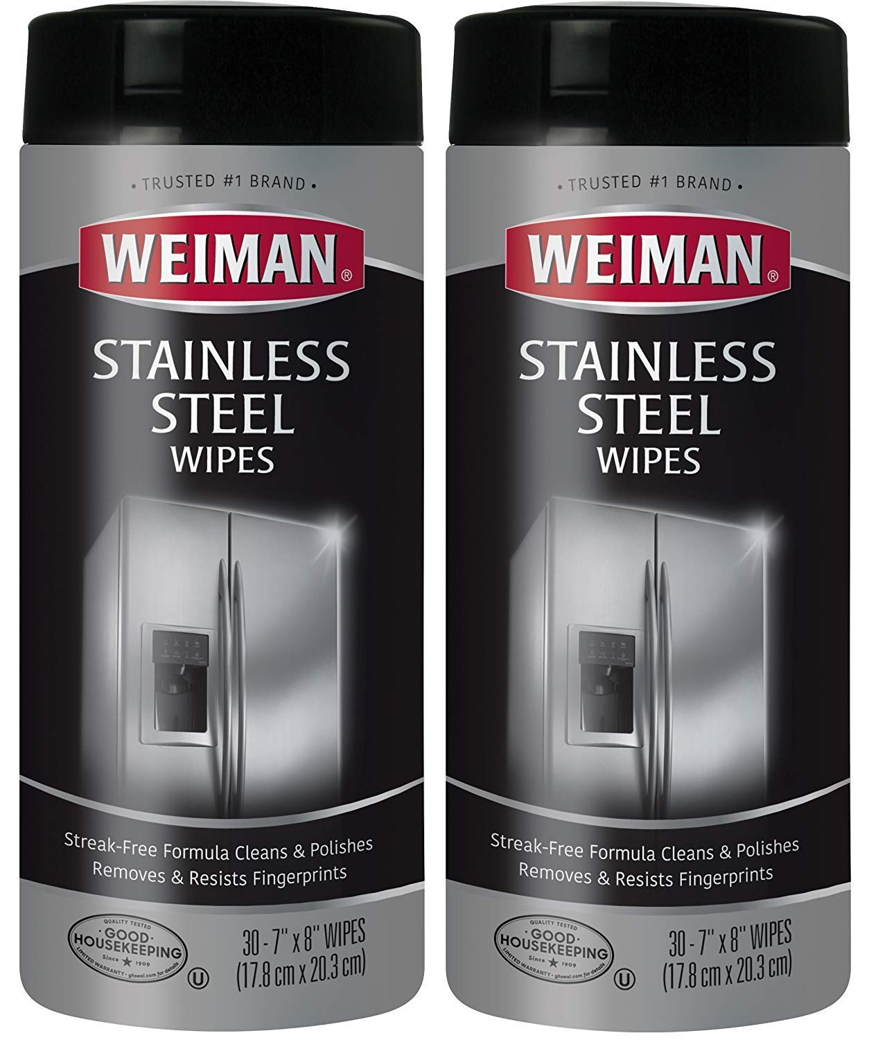 Weiman Stainless Steel Cleaning Wipes [2 Pack] Removes Fingerprints, Residue, Water Marks and Grease From Appliances - Works Great on Refrigerators, Dishwashers, Ovens, Grills and More(8 x 6.6 x 3.2) by Weiman