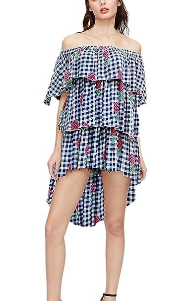 Mujer Vestidos Verano De Fiesta Cortas Elegantes Asimetricos Lindo Chic Vestido De Playa Una Línea con