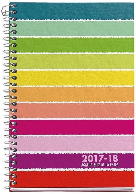 Agatha Ruiz de la Prada 270016 - Agenda escolar activa, 117 x 174 mm, semana a la vista, diseño milrayas