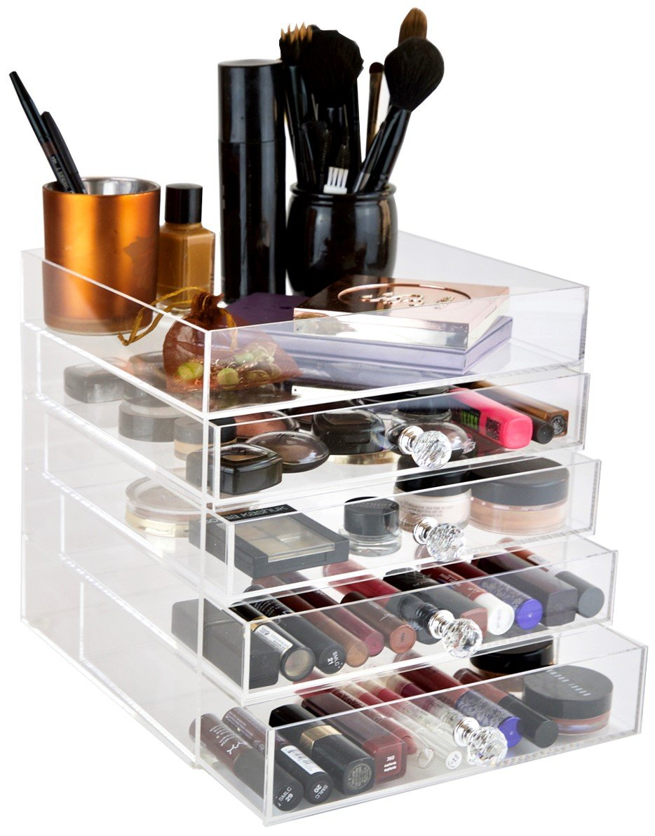 daisi Acrylic Cosmetic Makeup & Jewelry Cube Organizer | 5 Tiers - 4 Drawers & Open Top Compartment Shelf | Large Clear Display Case for Beauty Products | Stylish Storage Box with Crystal Knobs