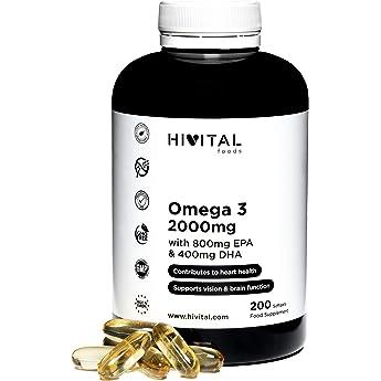 Omega 3 2000 mg | 200 cápsulas para más de 3 meses | Con 800 mg EPA, 400 mg DHA y Vitamina E Natural | El único con Aceite de Pescado Español