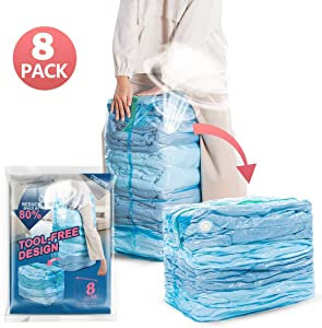 "Premium Vacuum Storage Bags, Space Saver Compression Bags -8 x Cube Vacuum Bags (31"" x 40"" x 15""), No Pump Needed, Perfect for Storage Clothes, Pillows, Bedding, Blanket and More"