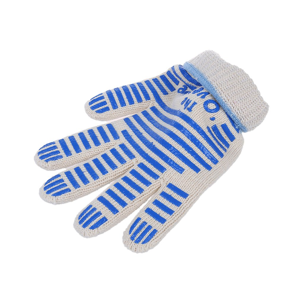 Omkuwl 1pc Anti Scalding Heat Proof Resistant Aramid Fiber Oven Gloves Outdoor BBQ Cooking Grilling Helper Long Mitt