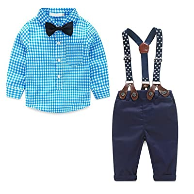 cabd69d1f59 Kids Boys Fashion Lattice Long Sleeve Shirt and Straps Pants Outfits
