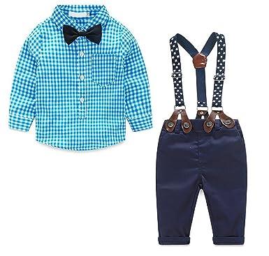 cfdb3b772 Amazon.com  Baby Boys Gentleman Long Sleeve Plaid Shirt and ...