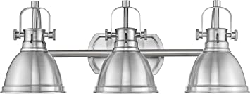 Emliviar 3 Light Bathroom Vanity Light Fixture Brushed Nickel Finish With Metal Shade 4054s Amazon Com