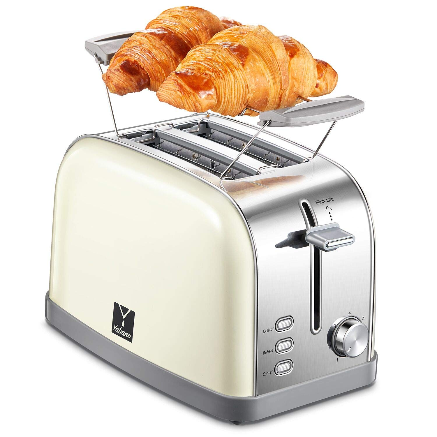 Yabano 2 Slice Toaster, Retro Bagel Toaster Toaster with 7 Bread Shade Settings, 2 Extra Wide Slots, Defrost/Bagel/Cancel Function, Removable Crumb Tray, Stainless Steel Toaster, Cream white