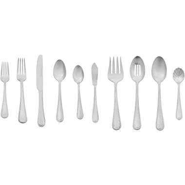 AmazonBasics 45-Piece Stainless Steel Flatware Set with Pearled Edge, Service for 8