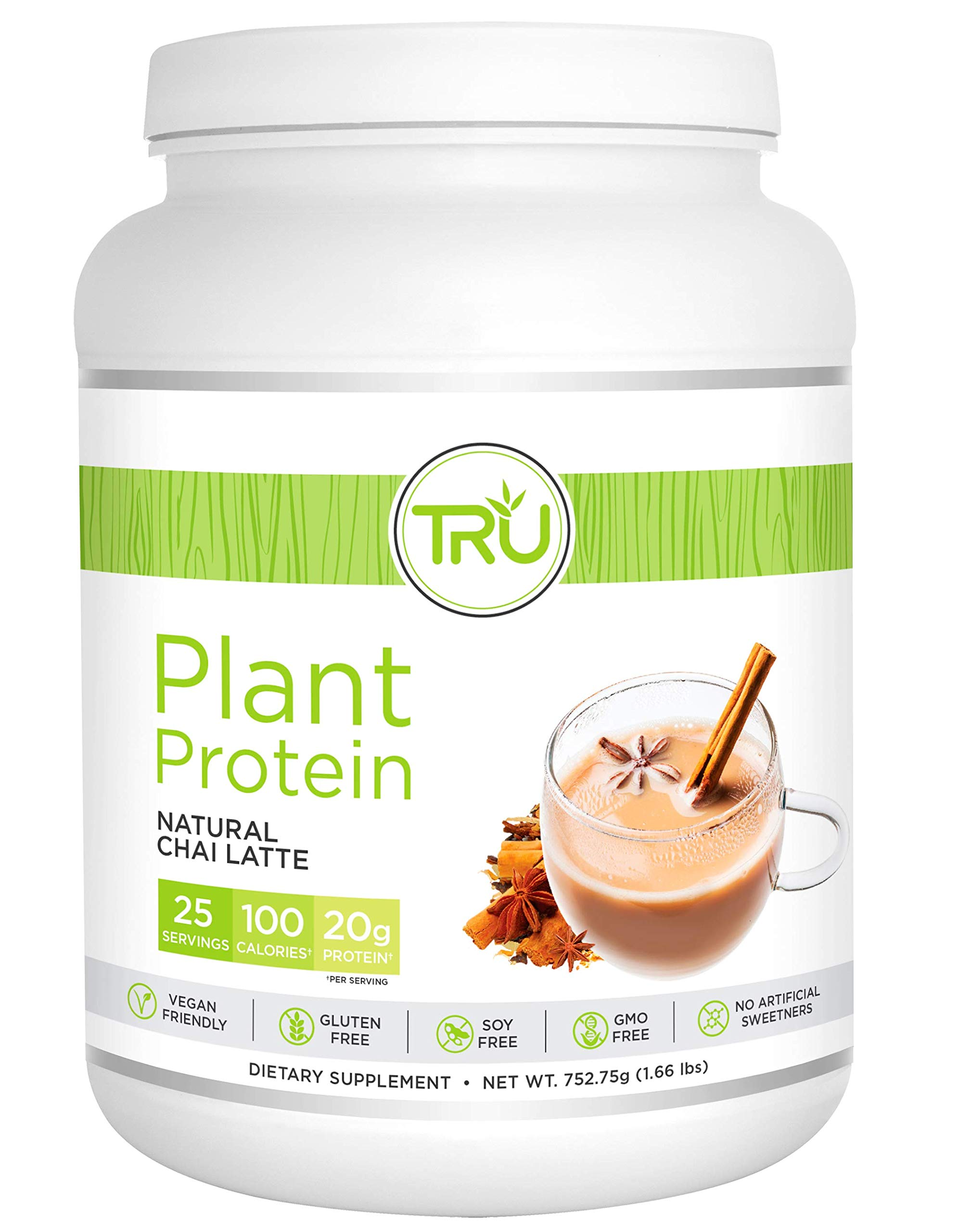Tru Protein Chai Latte - 25 Serving - Natural Plant Based Protein