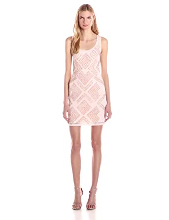 added755418 French Connection Women's Confetti Grid Sequin Sleeveless Dress, Capri  Blush, ...