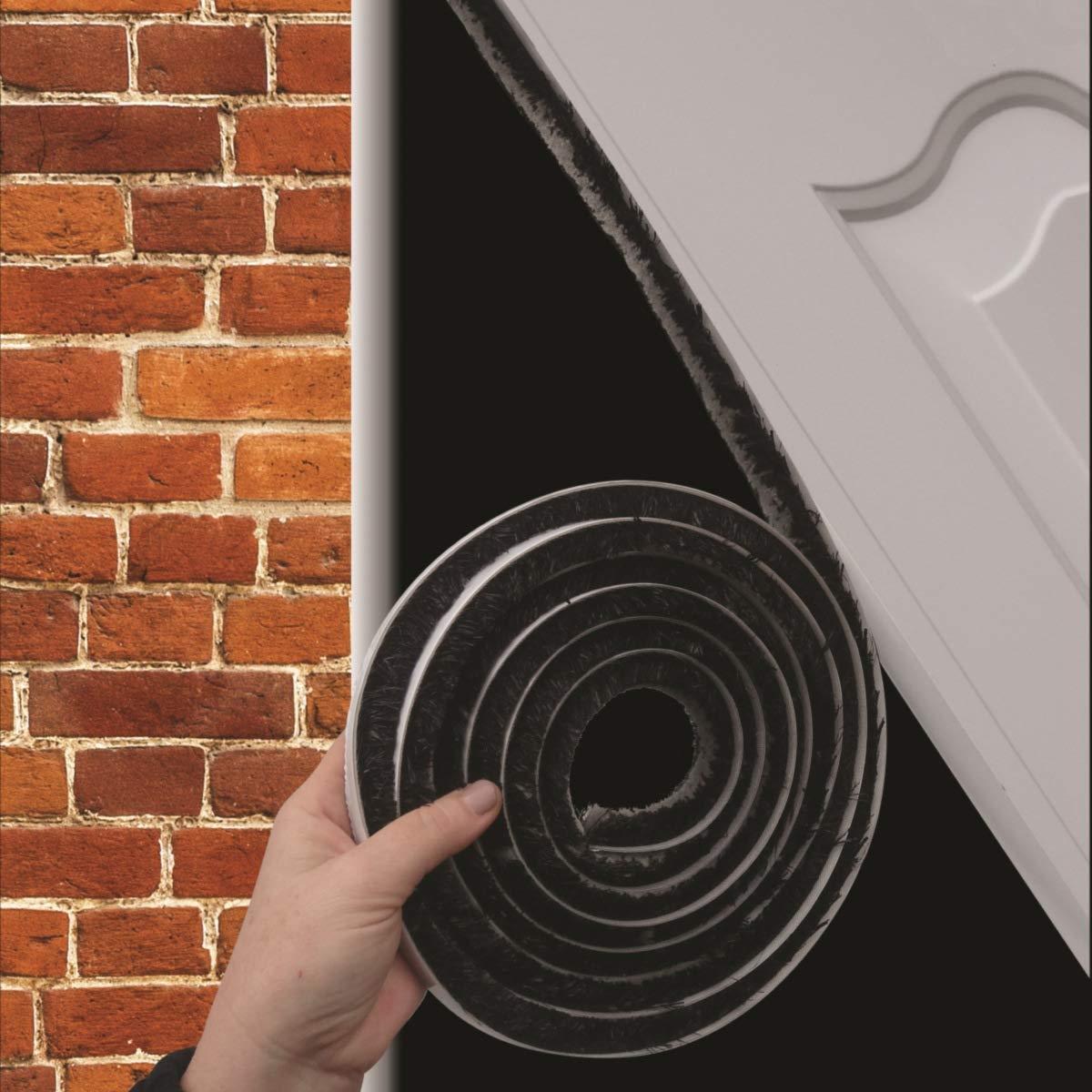 8m x 16mm x 16mm Joint porte garage espaces 5-15mm Brosse adh/ésif Gris