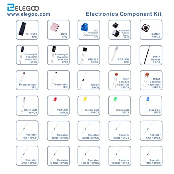 ELEGOO Kit Básico de Componentes Electrónicos con Resistencias, Leds, Condensadores, Zumbador, Potenciómetro para Arduino UNO, MEGA2560, Raspberry Pi Nano, ...