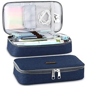 Homecube Pencil Case, Big Capacity Pen Case Desk Organizer with Zipper for School & Office Supplies - 8.74x4.3x2.17 inches, Blue