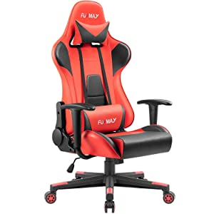 Furmax High-Back Gaming Office Chair Ergonomic Racing Style Adjustable Height Executive Computer Chair,PU Leather Swivel Desk Chair (Black/Red)