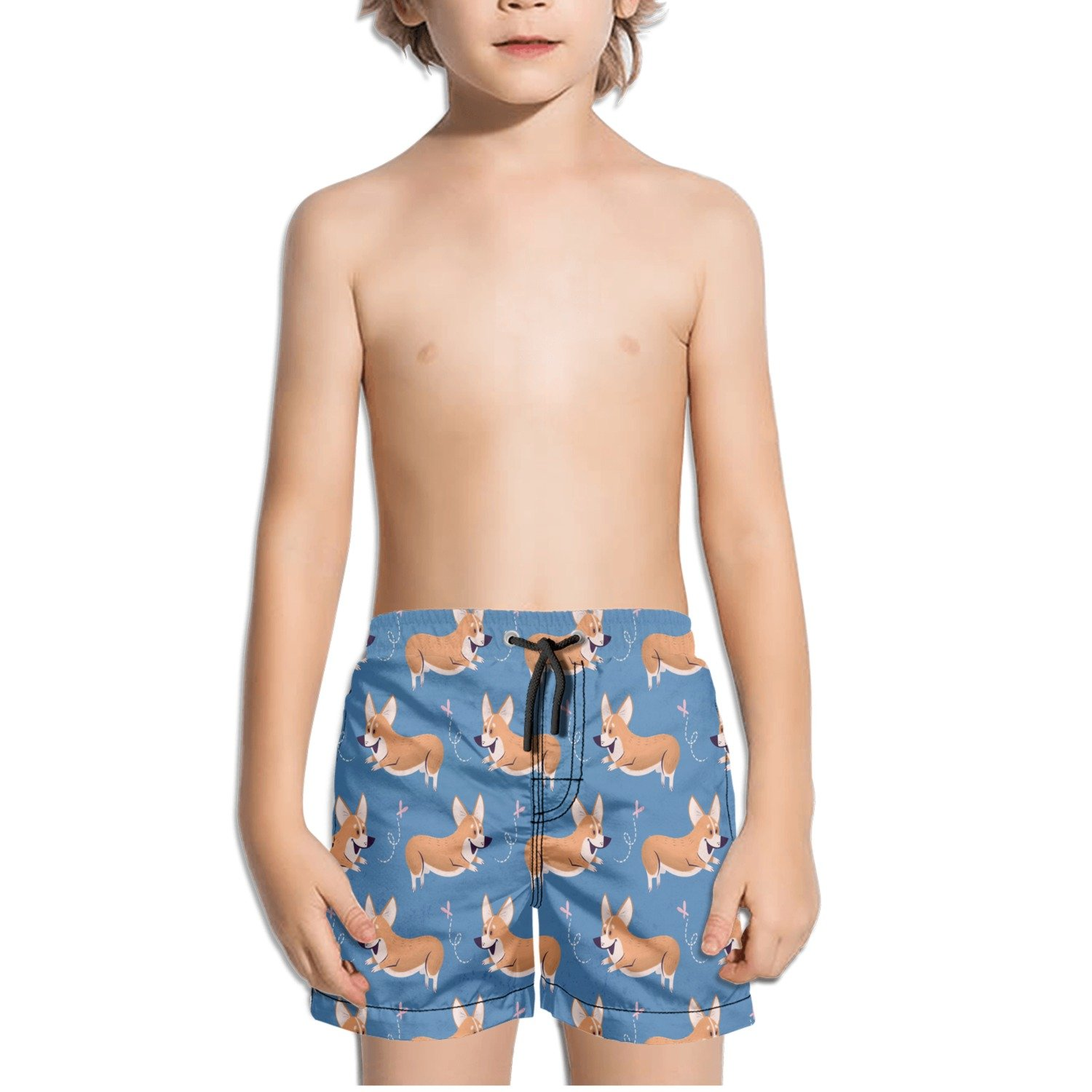 Corgi Chasing Butterfly Pattern Kids Boys Fast Drying Beach Swim Trunks Pants