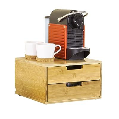 SoBuy FRG82-N Support pour capsules de café Boîte à Capsules de Café à 2 tiroirs en bambou Distributeur de capsules Boîte à thé