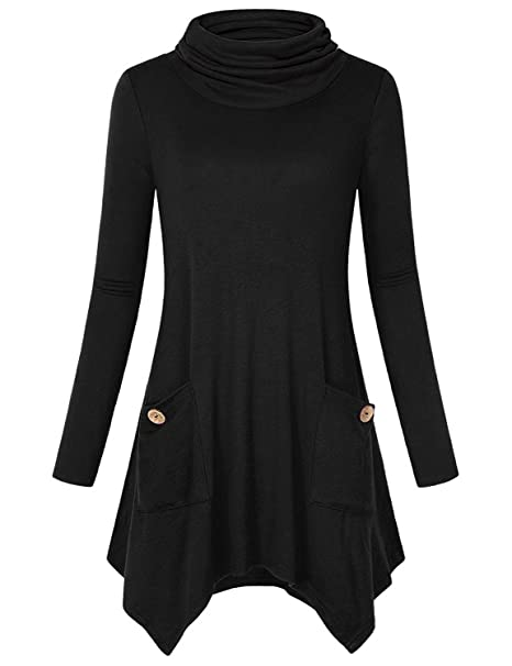 Anna Smith Tops de Manga Larga, Girls Irregular Dobladillo Camiseta Casual Tops Algodón de Cuello