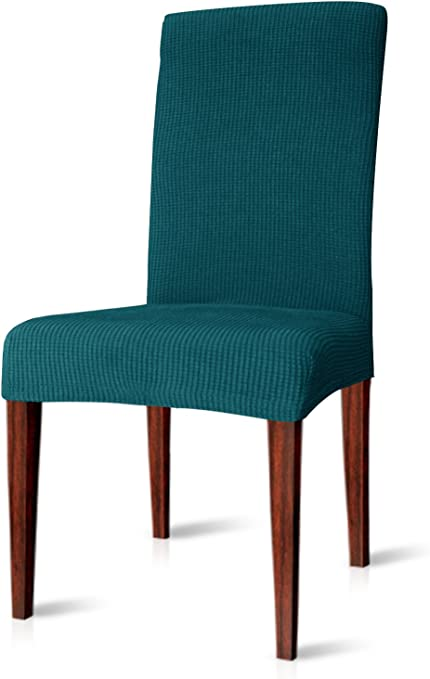 CHUN YI Dining Chair Covers Stretch Jacquard Polyester Spandex Anti-Stain Washable Dining Room Parsons Chair Slipcovers (4pcs, Teal)