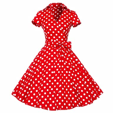 Women Retro 50s 60s Vintage Rockabilly Swing Feminino Vestidos V Neck Short Sleeves Dot Print Dress at Amazon Womens Clothing store: