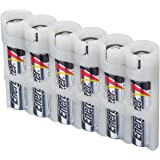 Storacell by Powerpax SlimLine AAA Battery Caddy, Glow-in-the-Dark Moonshine, Holds 6 Batteries