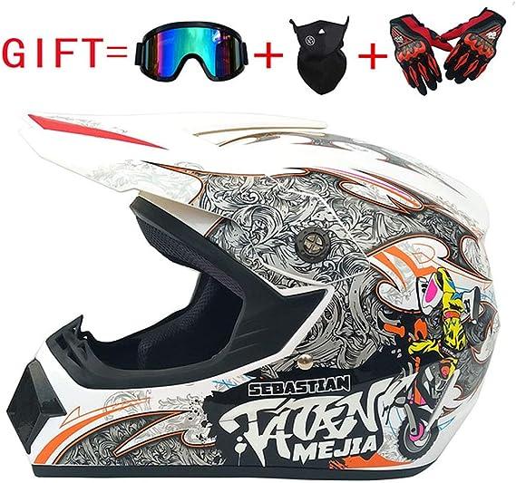Unbekannt Adult Motocross Helm Mx Motorradhelm Atv Scooter Atv Helm D O T Zertifiziert Rockstar Multicolor Brille Handschuhe Maske S M L Xl A L Küche Haushalt