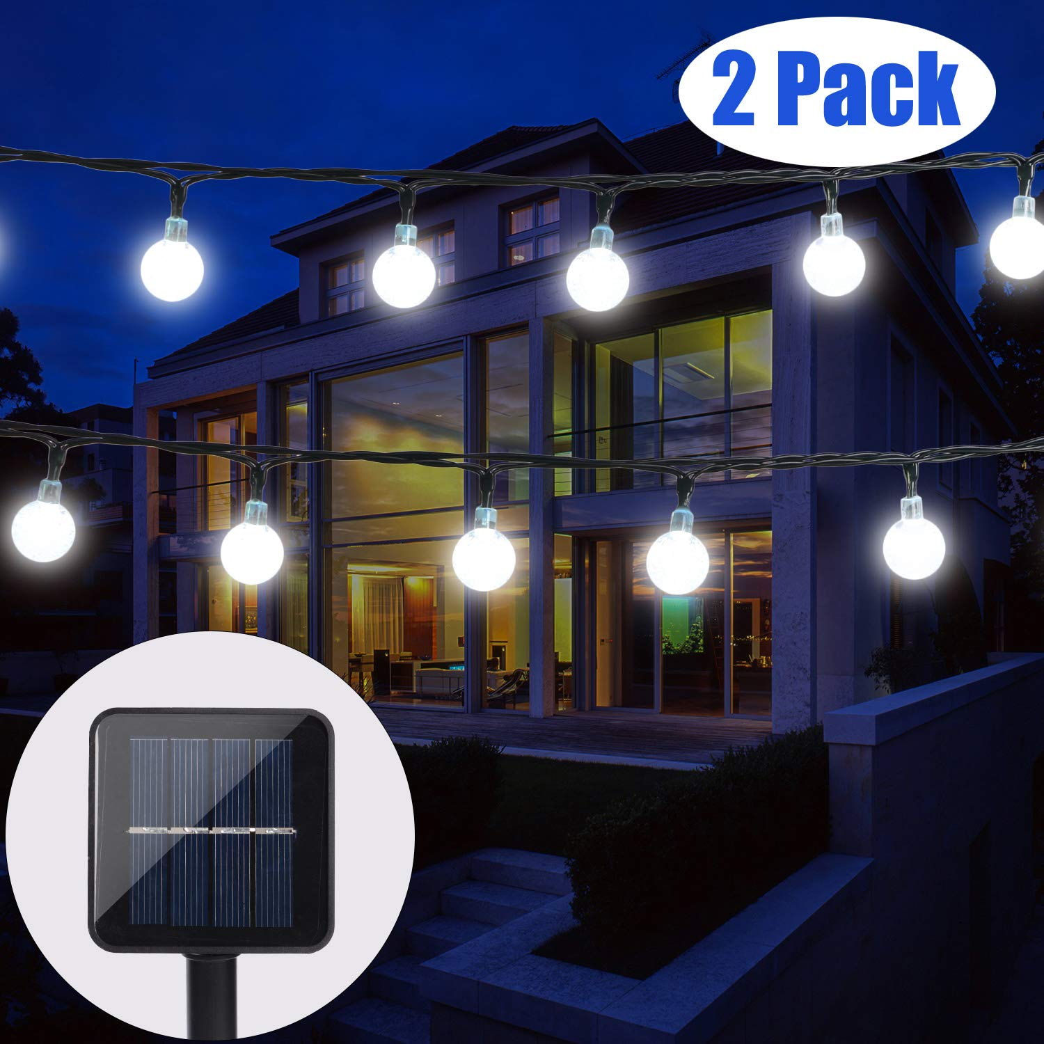 BAOANT 2 Pack Solar String Lights Fairy Lights 20Ft 30 LED Crystal Ball String Lights Starry Lights Globe String Lights for Garden Home Patio Indoor Outdoor(White)