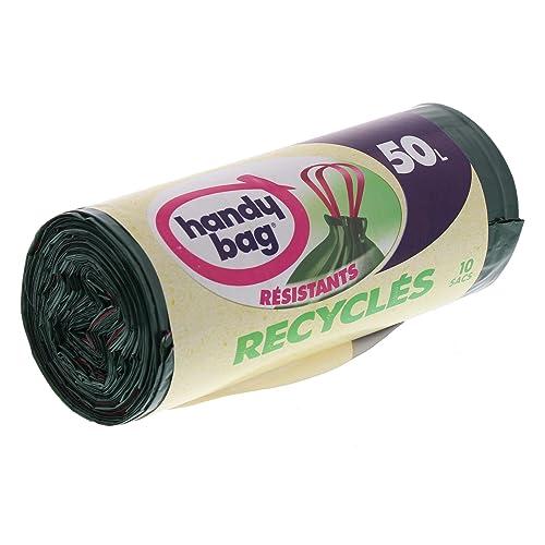 Handy Bag 2 Rouleaux de 10 Sacs Poubelle 50 L, Poignées Coulissantes, Recyclés, Résistant, Anti-Fuites, 68 x 73 cm, Vert Foncé, Opaque