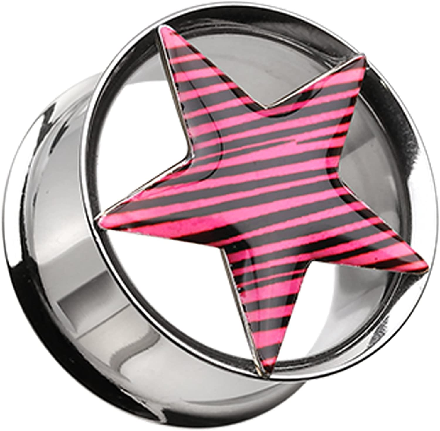 Zebra Star Hollow Double Flared 316L Surgical Steel Plug Sold as a Pair Pink