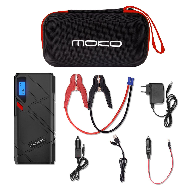 MoKo 1200A Batteria per Auto,12000mAh Portatile Esterna Multifunzione di Emergenza Auto ,2 Porte USB,Ricarica Rapida QC3.0 e Torcia LED /& Morsetti per la Batteria,Rosso Motore 6.5L Gas, Diesel 5.2L