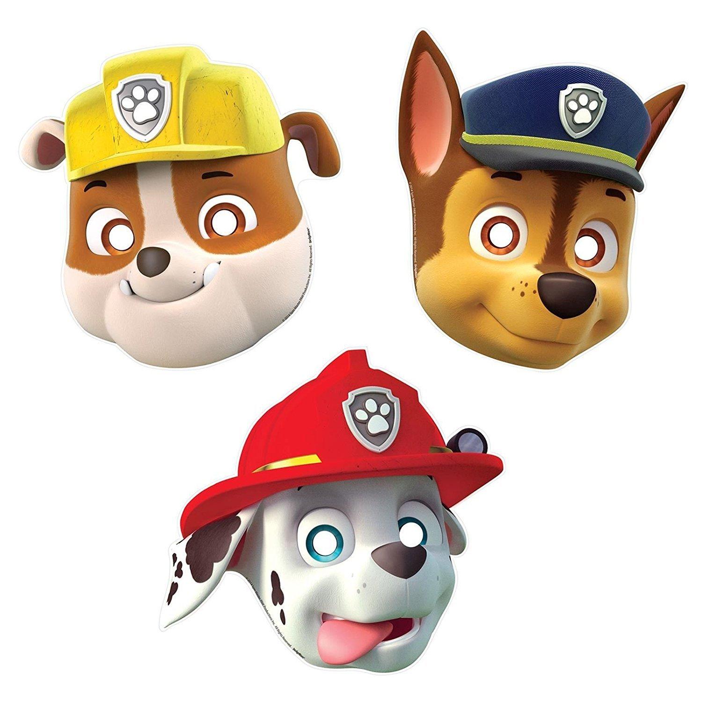 8X Paw Patrol Chase fête d'anniversaire masques Marshall gravats Nickelodeon JR