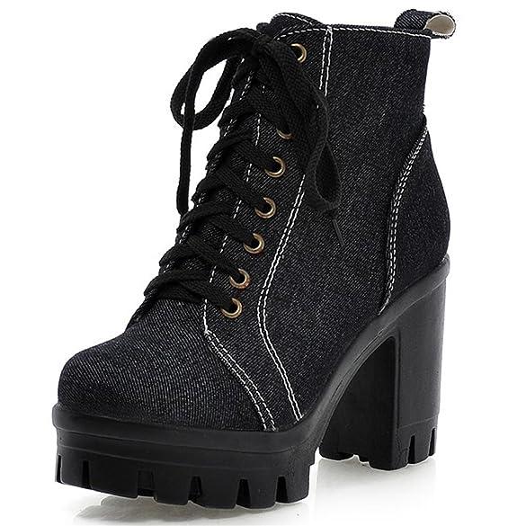 8faa8dd0222a6 Amazon.com | Dahanyi Stylish Autumn Jeans Ankle Boots Women Lace Up ...