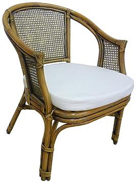 Sillón silla de mimbre Bambú ratán marrón Nogal con cojín ...