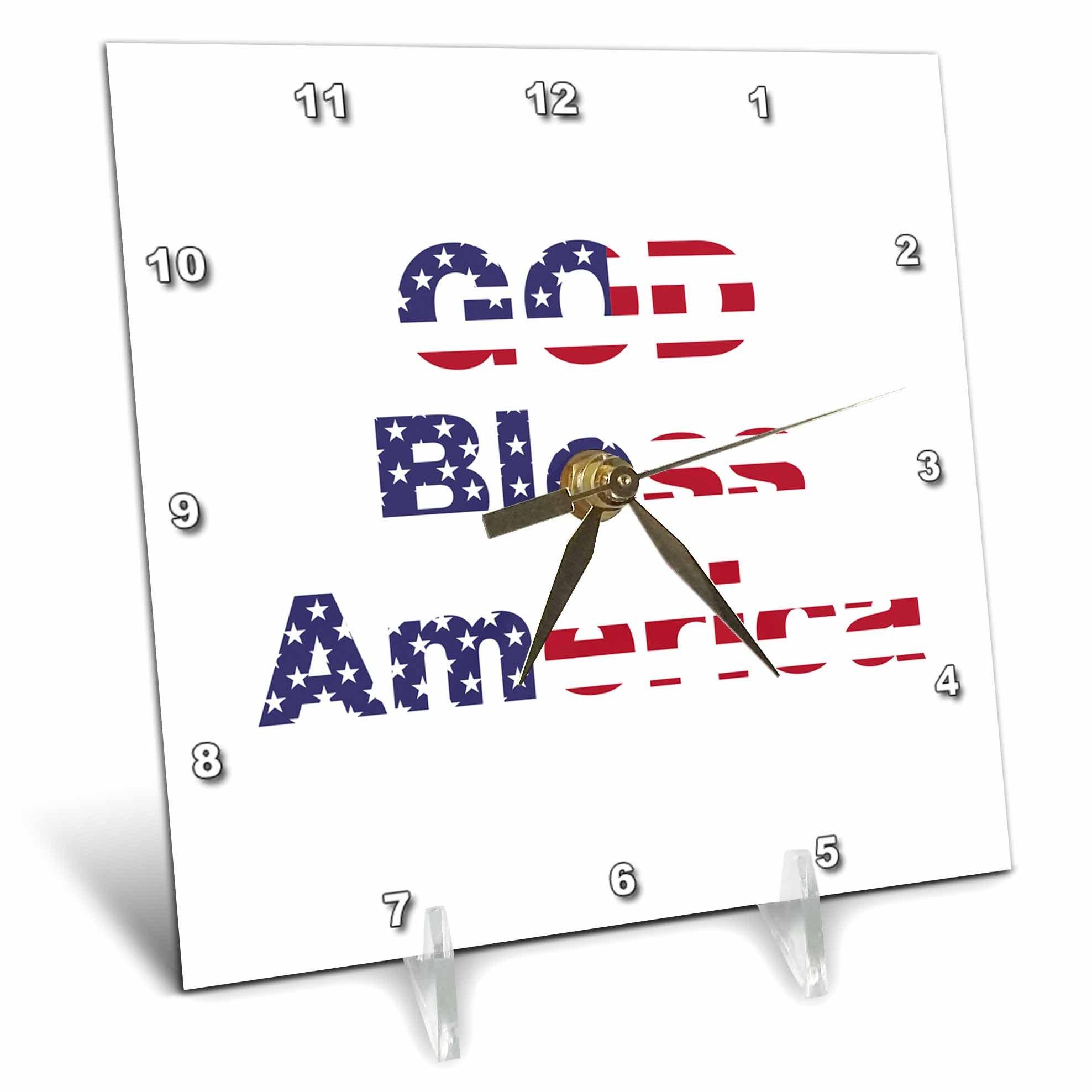 3dRose Uta Naumann Flags of the World - USA Typography-God Bless America-Patriotic-White - 6x6 Desk Clock (dc_275055_1)